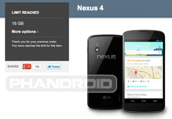 Google Nexus 4 - only two per customer