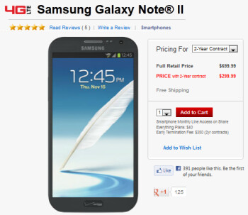 Verizon's Samsung GALAXY Note II should be in stores on Thursday