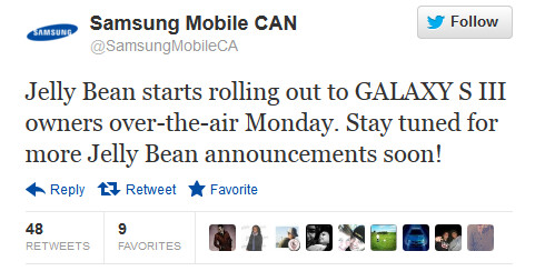 Samsung tweets the good news - Canadian Samsung Galaxy S III owners to get Jelly Beaned on December 3rd