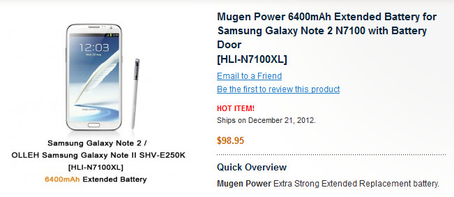 Murgen Power will sell you a 6400mAH cell for the Samsung GALAXY Note II - Samsung GALAXY Note II 6400mAh extended battery offered by Mugen Power
