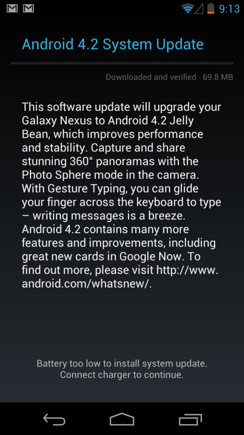 Android 4.2 Update notification