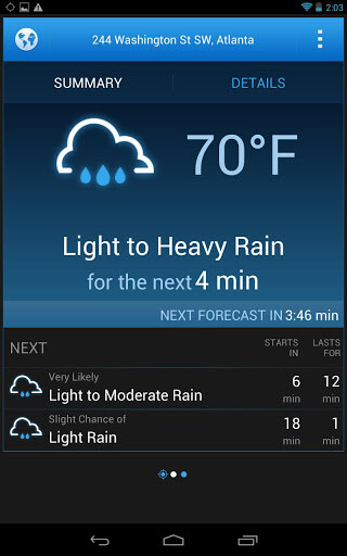 SkyMotion is a weather app for Android and iPhone - This app can give you a precise, minute-by-minute weather forecast