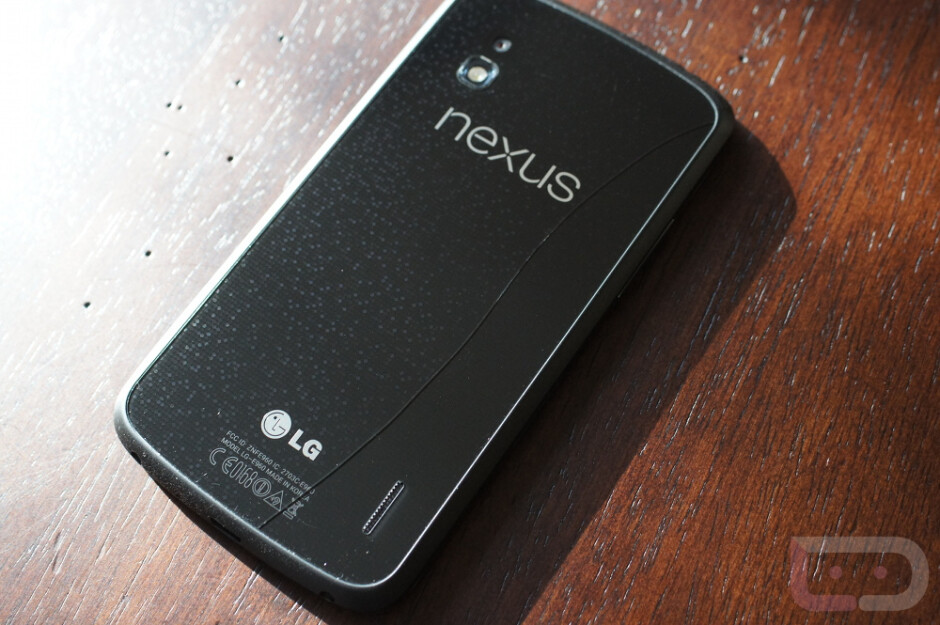 The Google Nexus 4 and AT&T LG Optimus G with cracked glass backs - Here's one more way to crack the glass back on the Google Nexus 4