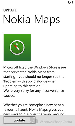 An issue with Nokia Maps is resolved - Nokia Maps updated for Windows Phone 8