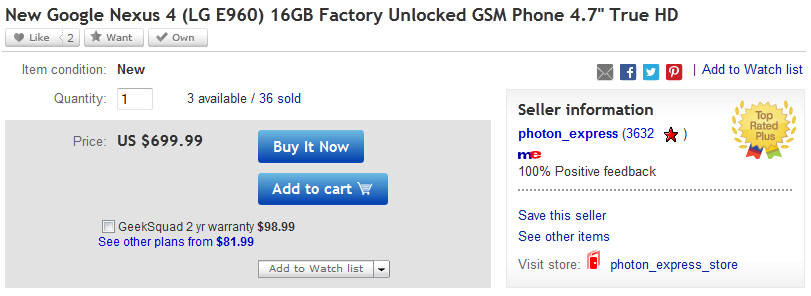 The 16GB Google Nexus 4 can be yours for $699.99 on eBay - Google Nexus 4 sellers face restrictions on eBay