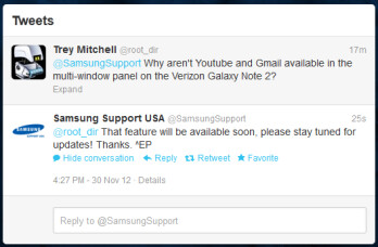 Gmail and YouTube coming to Verizon Note II multi-window mode soon