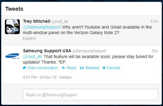 Gmail and YouTube coming to Verizon Note II multi-window mode soon