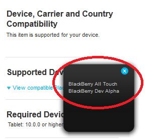 THe app will run on the first BB10 All-Touch devices