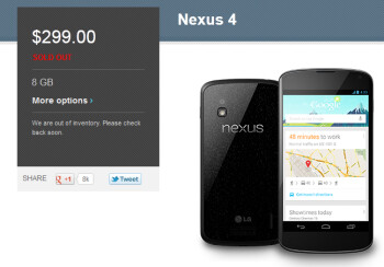 The 8GB Google Nexus 4 is once again sold out