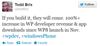 Todd Brix tweets the exciting news about Windows Phone apps