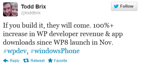 Todd Brix tweets the exciting news about Windows Phone apps - After Windows Phone 8 launch, Microsoft says app downloads and developer revenue have doubled