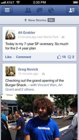 Images from the Facebook iOS app