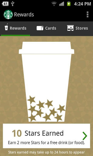 Screenshots from the Starbucks app for Android