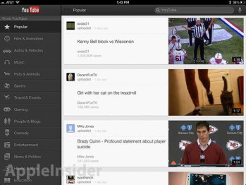 The new YouTube app for iOS (L), a video playing on the Apple iPad (R)