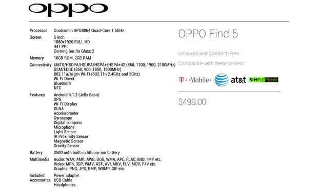 Oppo Find 5 gets a US info site - $499 nets you Droid DNA specs but a much larger battery