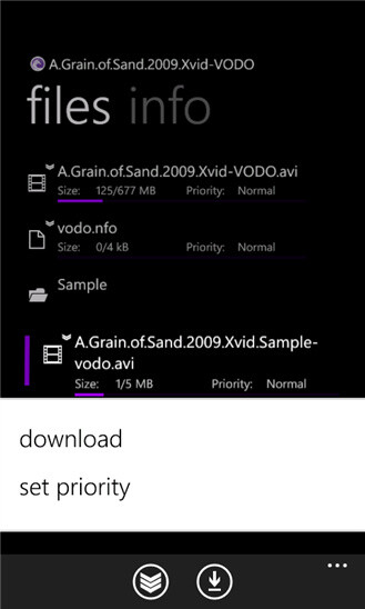 The official BitTorrent Remote app for Windows Phone