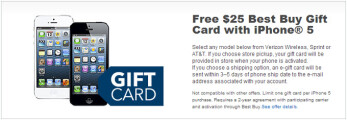 Best Buy gives away $25 gift card when you buy an Apple iPhone 5