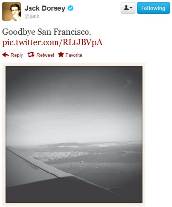 Dorsey's most recent picture as he departed San Francisco this morning.