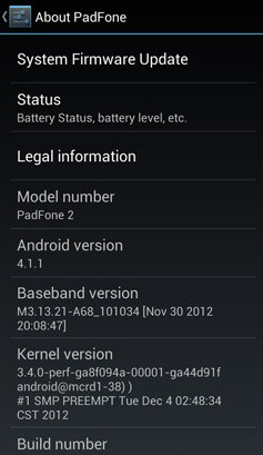 It's a Jelly Bean update for the ASUS Padfone 2