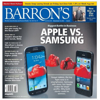A recent Barron's cover story said Apple's shares are cheaper than Samsung's equity