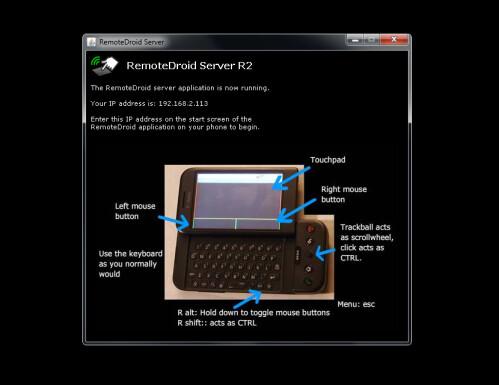 Start the RemoteDroid server