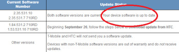 Most T-Mobile HTC One S phones in use are already considered up to date