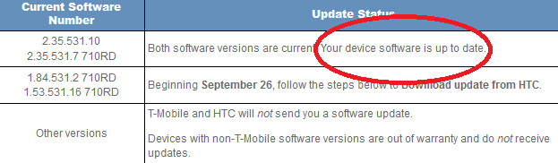 Most T-Mobile HTC One S phones in use are already considered up to date - T-Mobile's HTC One S gets updated, but you might already be up to date