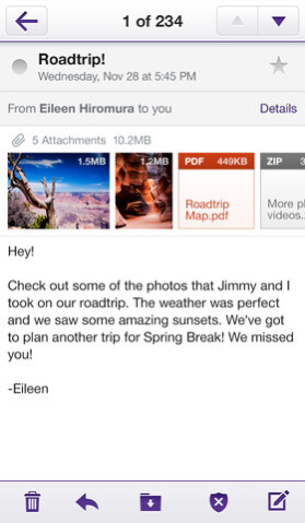 Yahoo! Mail on iPhone