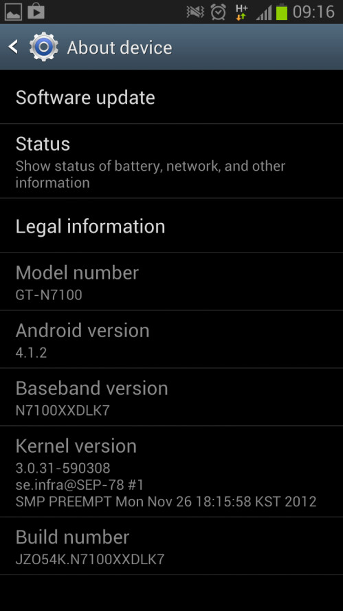 Android 4.1.2 update for GT-N7100 and GT-N7105