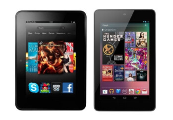 The Amazon Kindle Fire HD (L) and the Google Nexus 7