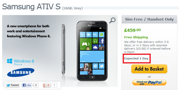Expansys will ship out the Samsung ATIV S on Friday - Samsung ATIV S to launch December 13th-14th in U.K. and Canada