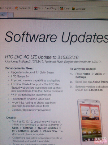 HTC EVO 4G LTE might receive Android 4.1 update today