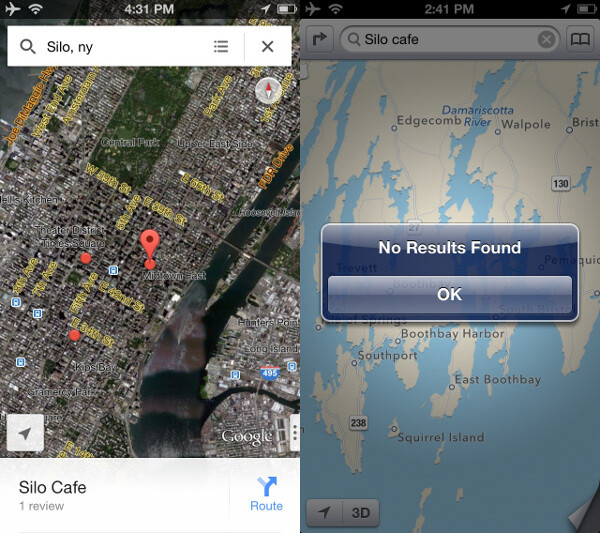 Apple Maps search does not work as well as the one on Google Maps (Google Maps is on the left, Apple Maps - on the right) - Google Maps vs Apple Maps comparison