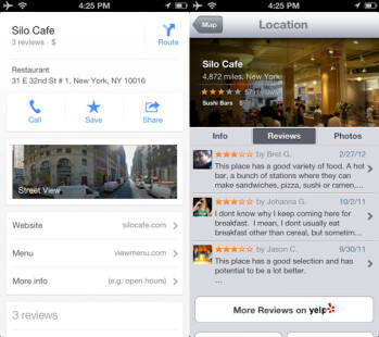 Apple Maps integrates Yelp which is a treasure for the United States