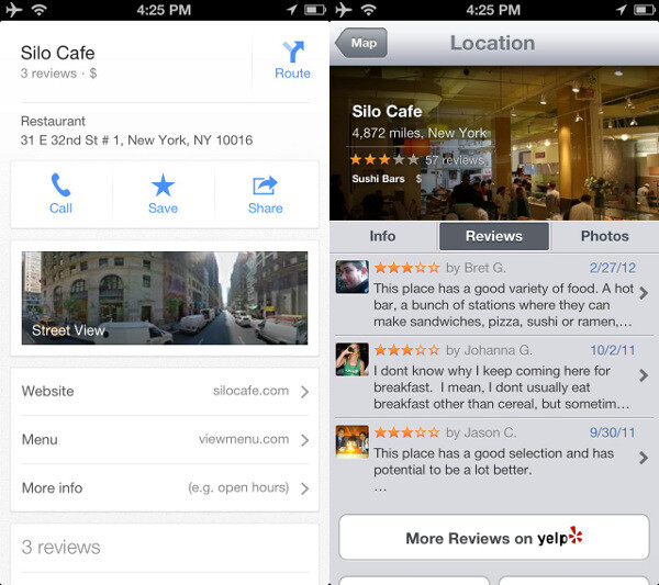 Apple Maps integrates Yelp which is a treasure for the United States - Google Maps vs Apple Maps comparison