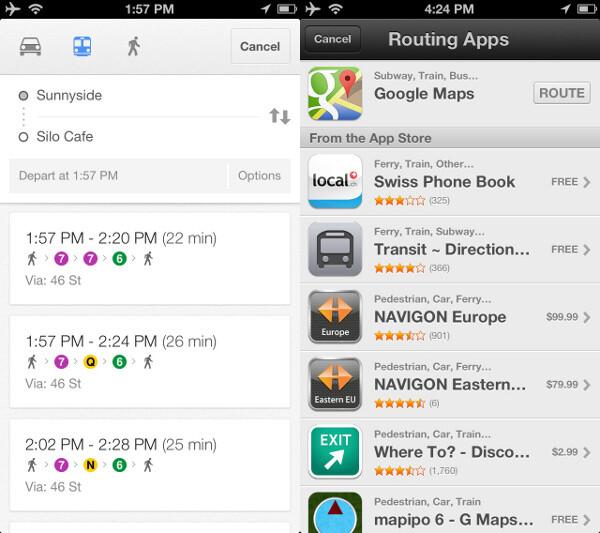 Apple Maps suggests you use Google Maps. - Google Maps vs Apple Maps comparison