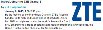 The CES website outs the ZTE Grand S
