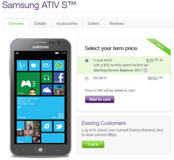 The Samsung ATIV S is just $29 on contract at TELUS