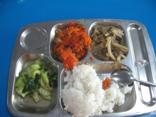 Workers pay 50 RMB for cafeteria service