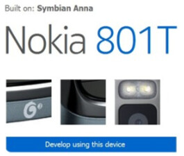 The design patent is for the Nokia 801T