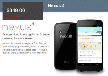 Sold Out, the Google Nexus 4