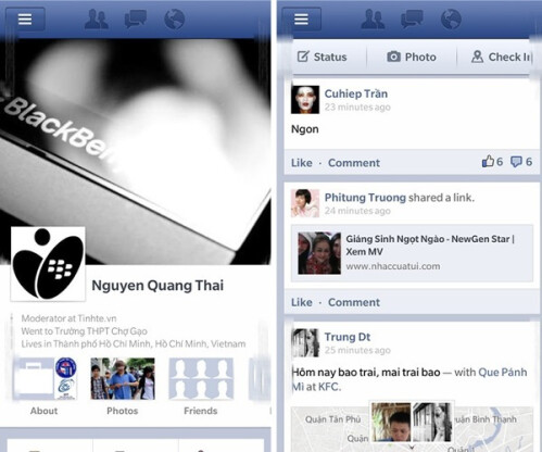 BlackBerry 10 Facebook app