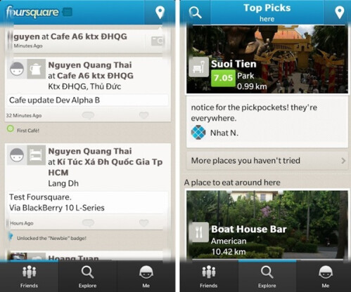 BlackBerry 10 Foursquare app