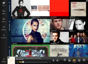Screenshots from the Rhapsody app for the Apple iPad and Apple iPad mini