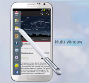 Multi-windows on the Samsung GALAXY Note II