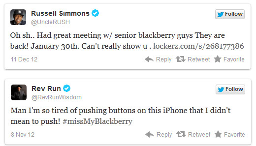 Tweets from mogul Russell Simmons and his famous brother - RIM CMO says 70,000 apps will be available at BlackBerry 10 launch