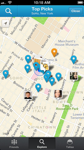 Screenshots from Foursquare