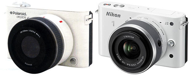 Comparing the front and back of the rumored Polaroid IM1836 with the the Nikon 1 J2 - Say cheese: Polaroid's rumored Android camera is expected to feature interchangeable lenses