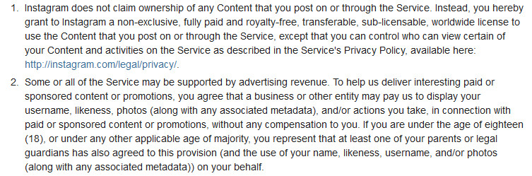The paragraphs Instagram users are upset with - Instagram's new ToS allows Facebook to profit from your pictures forever and ever