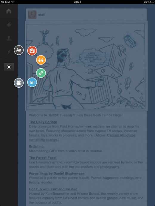 Soon after Android, Tumblr for iOS gets tablet support as well